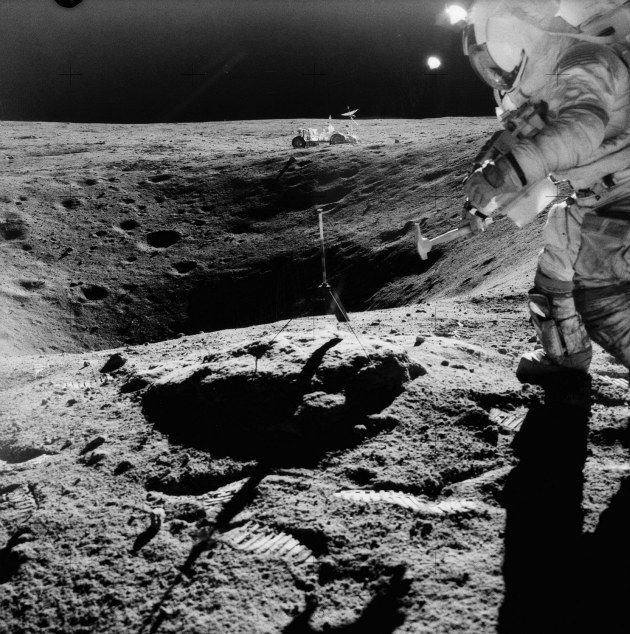 Astronaut John Young on the moon