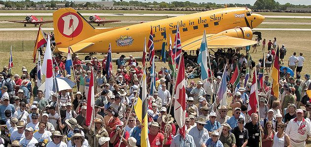 Two things you will find every July in Oshkosh Wisconsin The DC 3 Duggy and planeloads of international tourists