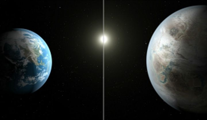 Artist's concept comparing Earth and Kepler-452b: NASA/JPL-Caltech/T.Pyle