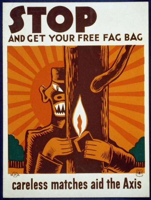 """Poster encouraging use of """"fag bag"""""""