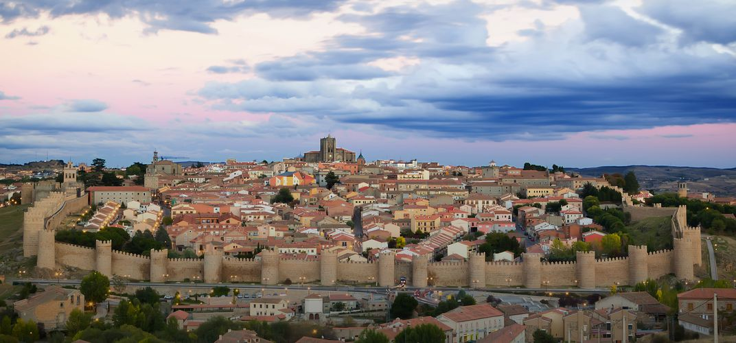Panorama of the medieval, walled town of Ávila, a World Heritage site