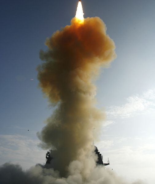 A Pentagon missile knocks a falling satellite out of the sky.