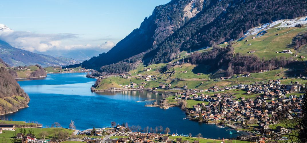 The town of Interlaken, situated between lakes and the Jungfrau