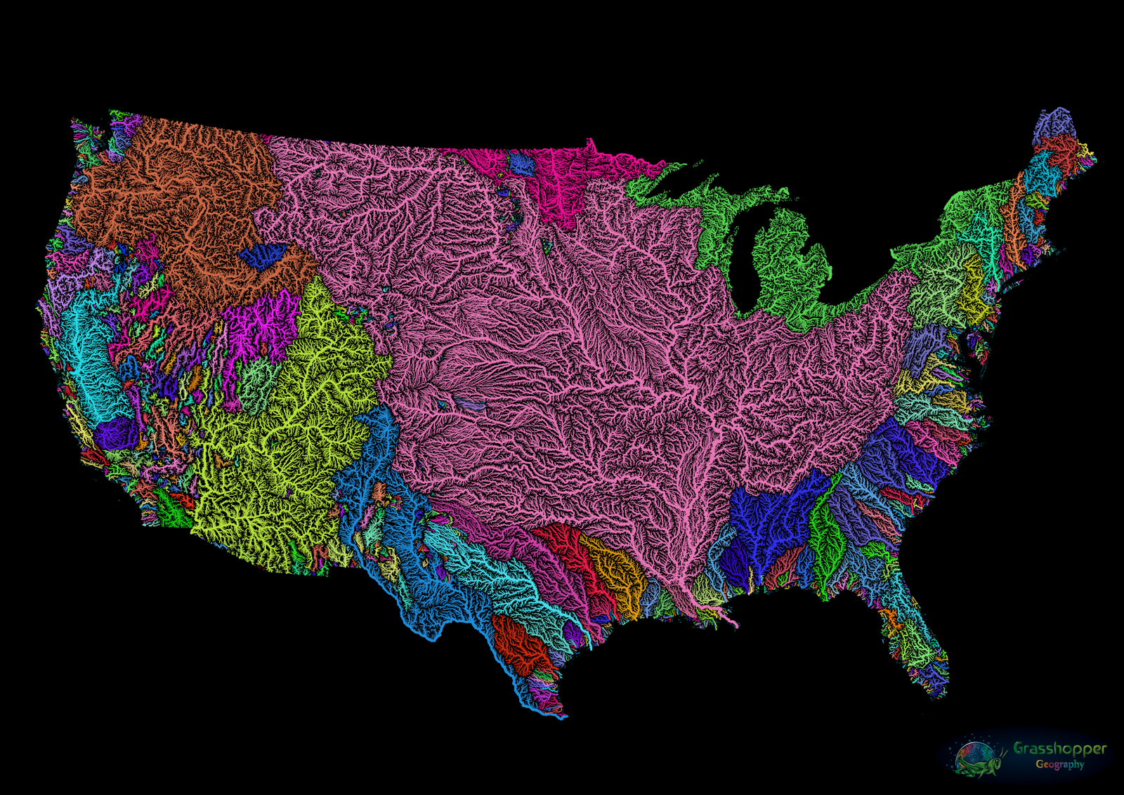 Us River Basin Map These Beautiful Maps Capture the Rivers That Pulse Through Our