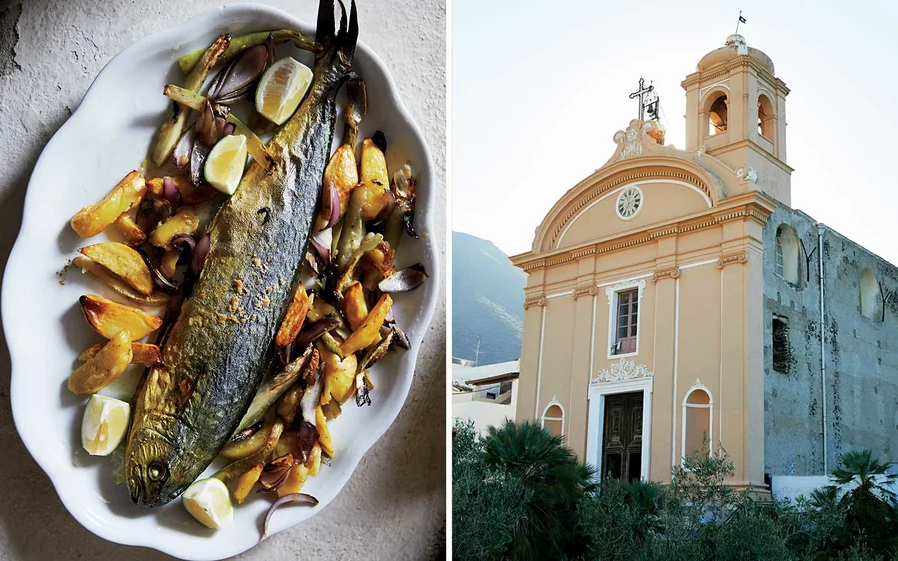 From left: Gurnard and vegetables at Villa La Rosa, on Filicudi; the Immaculate Church on Salina.