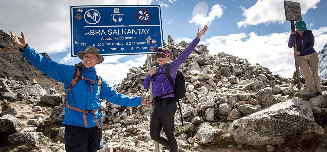 At the highest point of Salkantay Pass