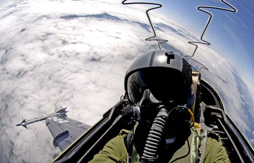The view from a Canadian CT-155 Hawk.