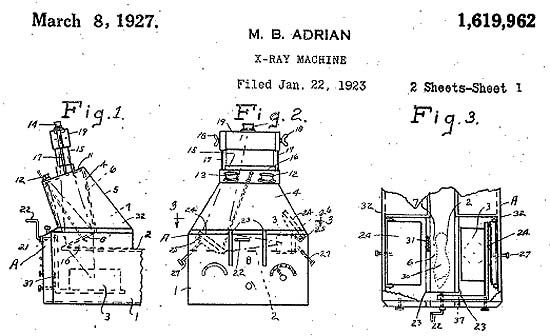 Patent drawing of the Adrian fluoroscopic shoe-fitting