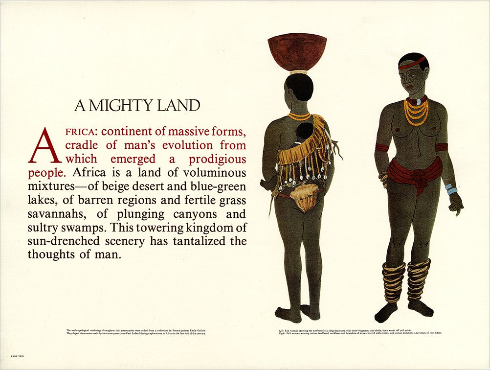 Page from the Polished Ambers advertising book with illustrations of an African woman.