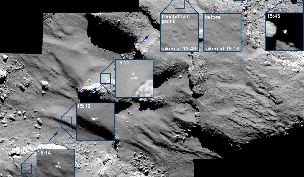 Rosetta's OSIRIS camera took these images of Philae's descent to the icy surface of comet 67P. Inset: A telemetry feed reports Philae's separation from Rosetta.