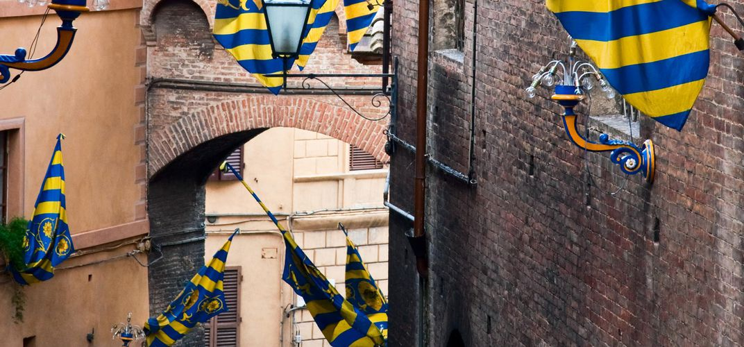 Contrada (neighborhood) in Siena during the Palio