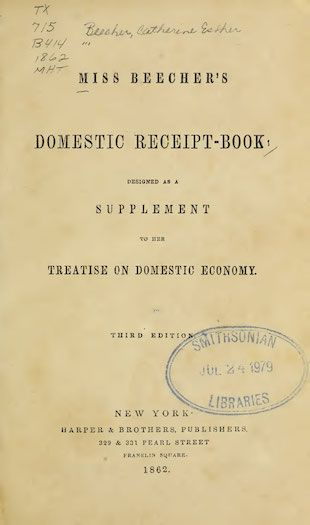 Title page of Miss Beecher's Domestic Receipt-Book