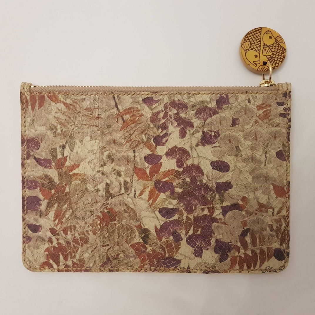 Digitally printed with water based inks Fish leather clutch by Elisa Palomino.jpg