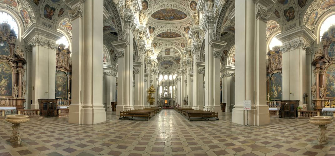 The beautiful rococo design of St. Stephan's Cathedral in Passau