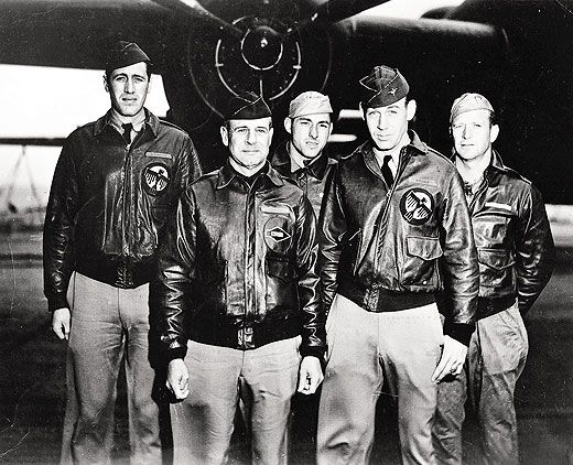 Doolittle (second from left) and Cole (to his left) before the 1942 raid.