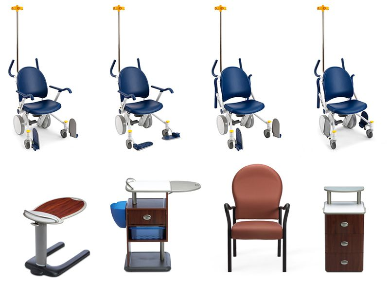 Top: Michael Graves Design Group and Stryker Medical, Prime Transport Chair. Bottom: The Stryker Patient Suite.