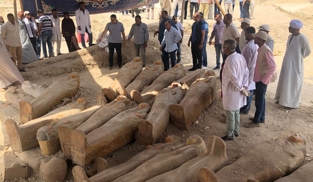 The wooden coffins are still sealed––a rarity in Egyptian archaeology
