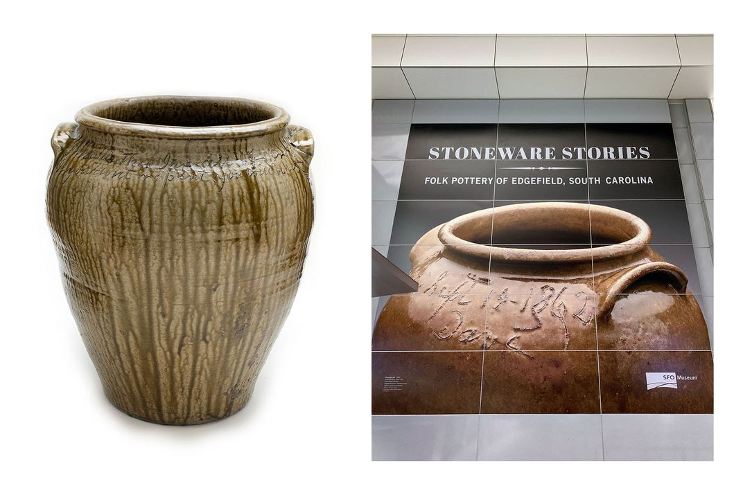 Left: Glazed ceramic jug with no face. Words are carved around top of the surface. Right: Large poster with an image of a ceramic jug, with an inscription in the top, including the name Dave. Text on the poster reads: STONEWARE STORIES.