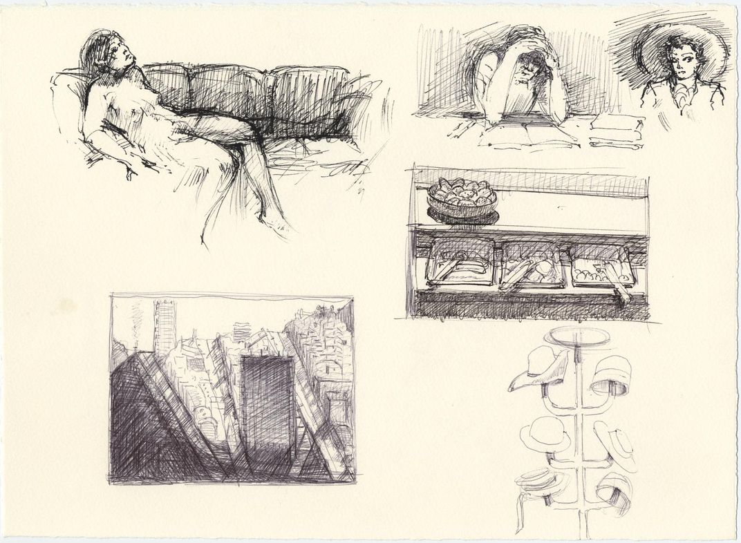 sketched of a nude woman reclining, a cityscape, hat rack