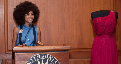 Esperanza Spalding, at the dress donation ceremony