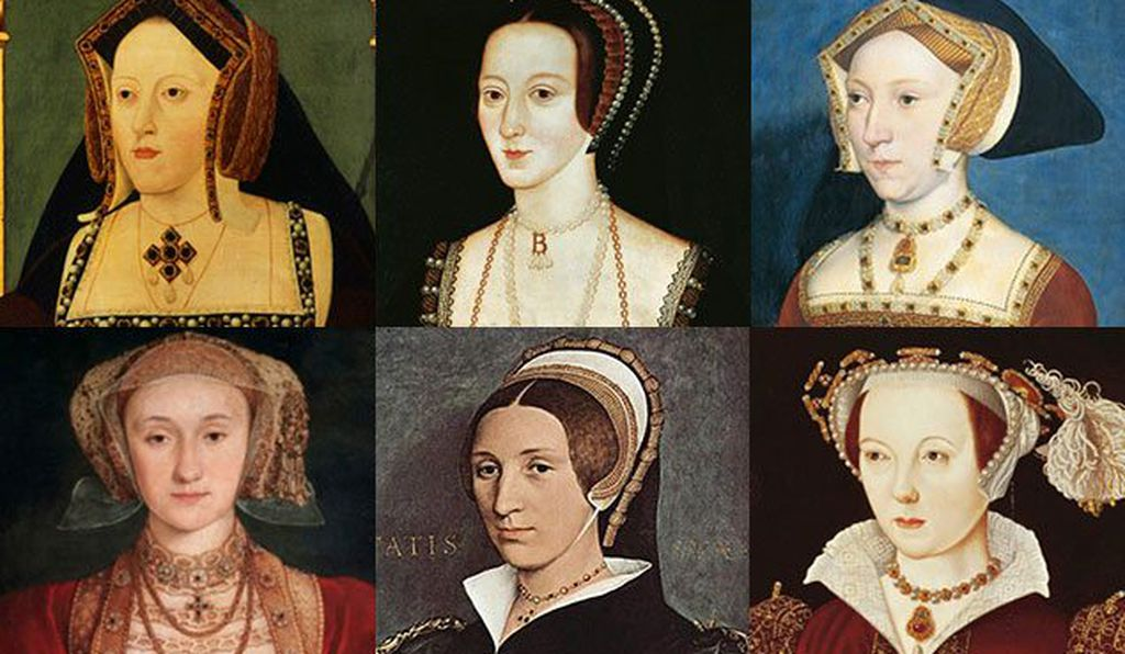 Top row, L to R: Catherine of Aragon, Anne Boleyn, Jane Seymour, and bottom row, L to R: Anne of Cleves, Katherine Howard, Catherine Parr