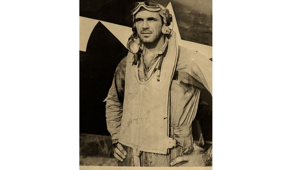 The author, also on Green Island, after a sweep over Rabaul.