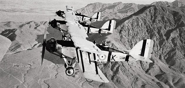 A formation of Westland Wapitis flies over the mountainous landscape of the North West Frontier Province In 1933 a Wapiti became the first airplane to fly over Mt Everest