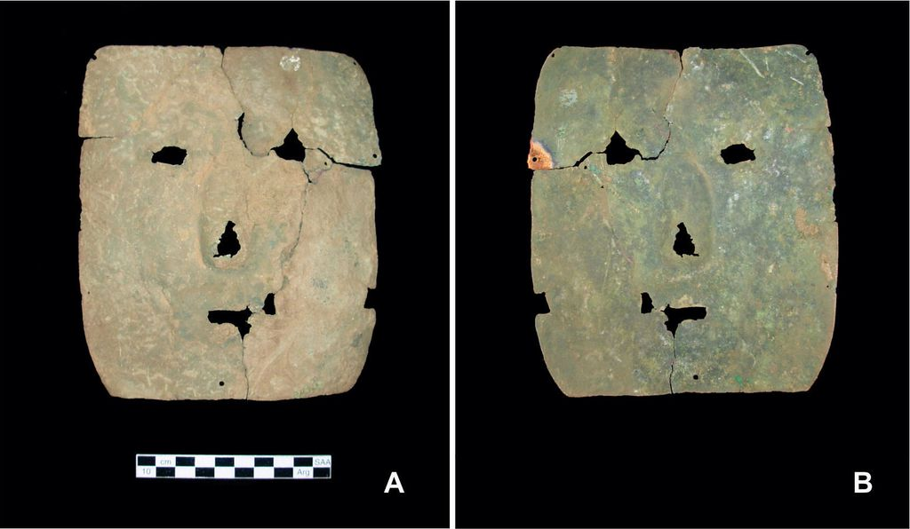 The front (left) and back (right) of a 3000-year-old copper mask.