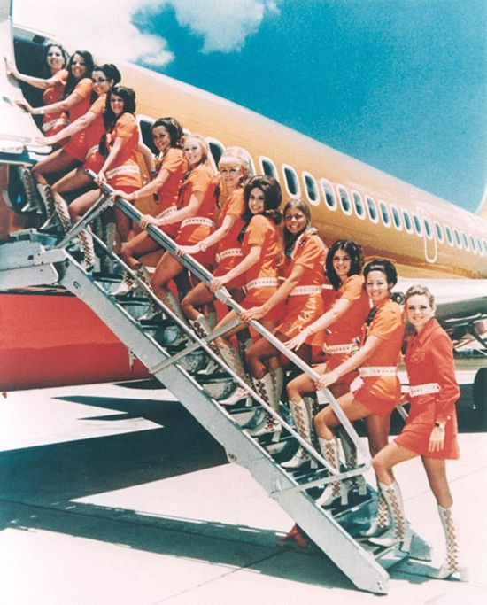 Southwest Airlines uniforms in the early 1970s