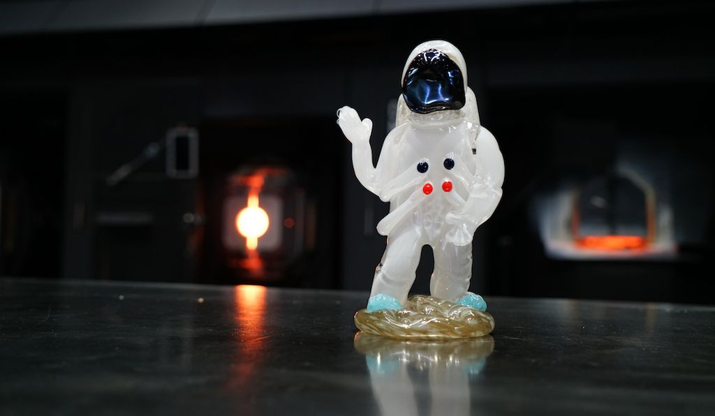 A glass astronaut by glassmaker Catherine Ayers.