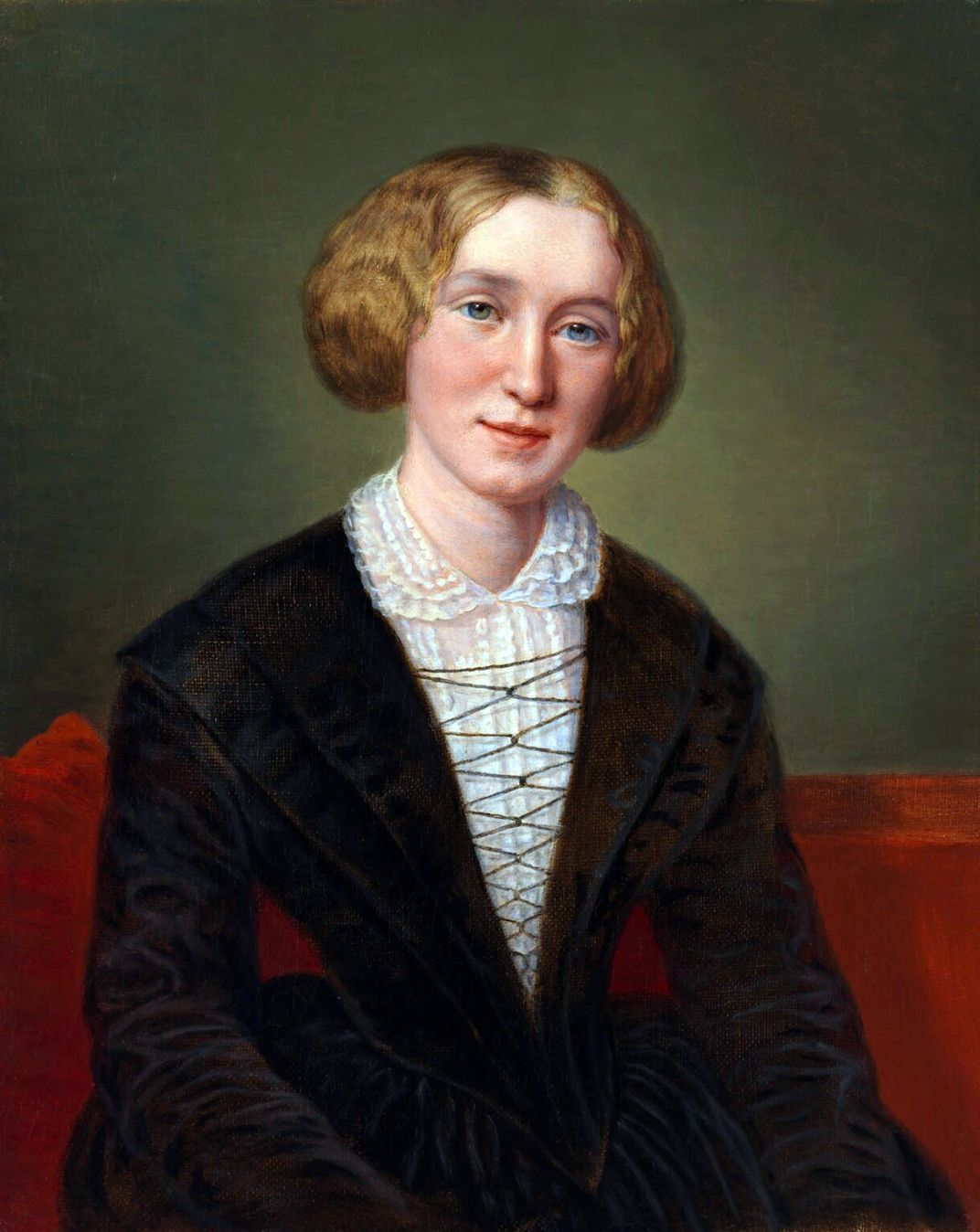 A painted portrait of Eliot, who is white, faces viewer, wearing a black dress with a white lace collar and sitting in front of a red and brown backdrop