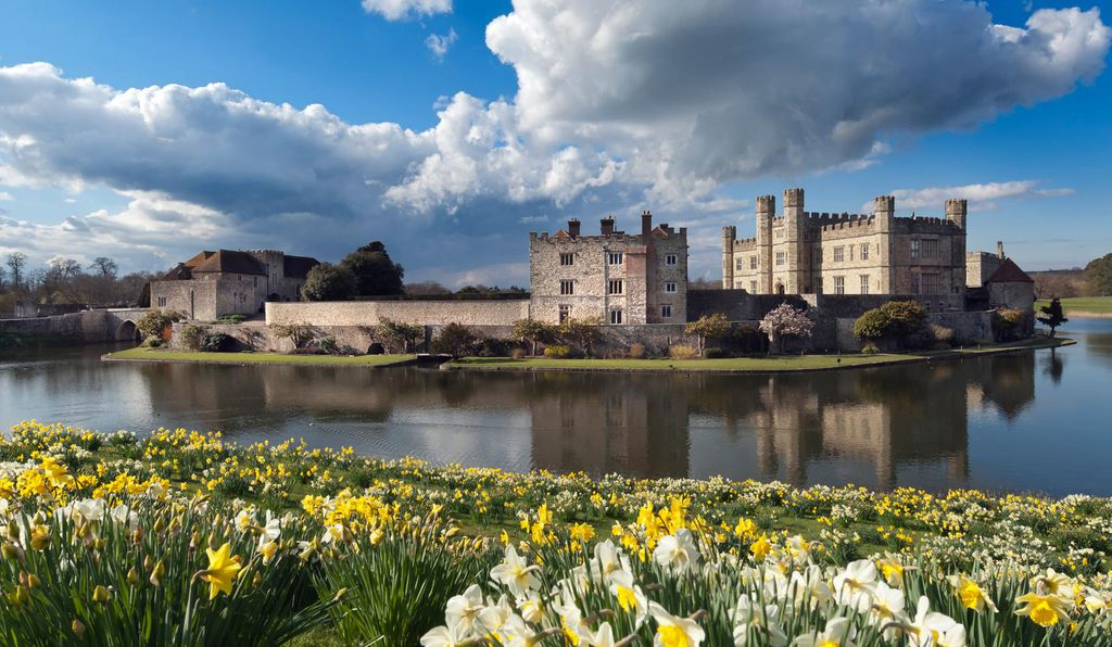 Leeds Castle with surrounding moat.