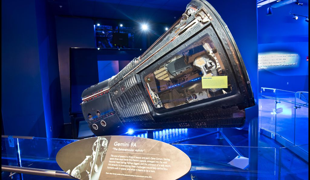 Look through a special screen and a holograph of astronaut Gene Cernan hovers over the real Gemini 9 space capsule.