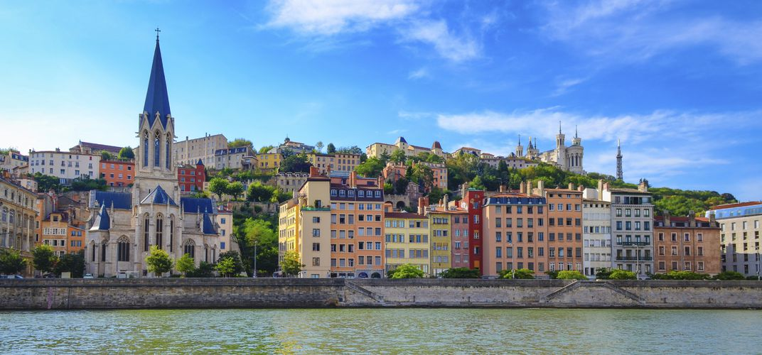 The city of Lyon, along the Rhône River