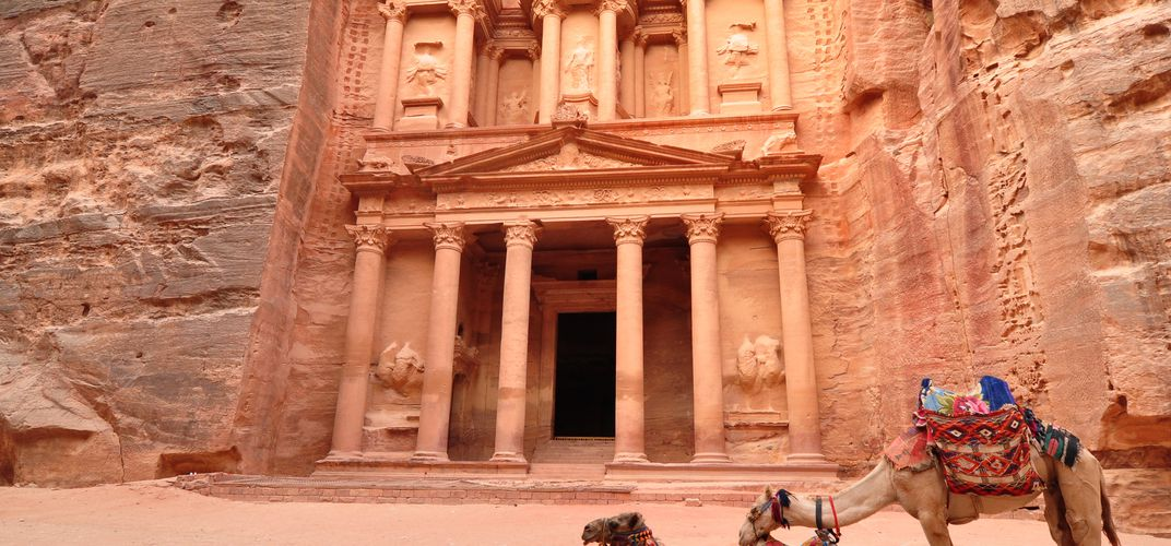 The iconic Treasury at Petra, Jordan