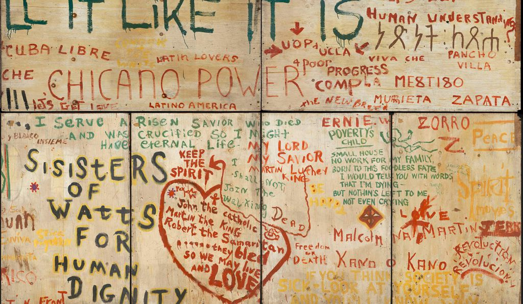A section of a mural from Resurrection City, inscribed: