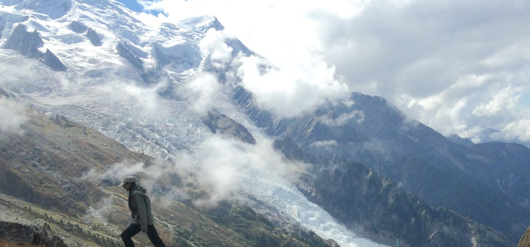 Hiking in view of the Mont Blanc massif. Credit: Joanna Kentolall