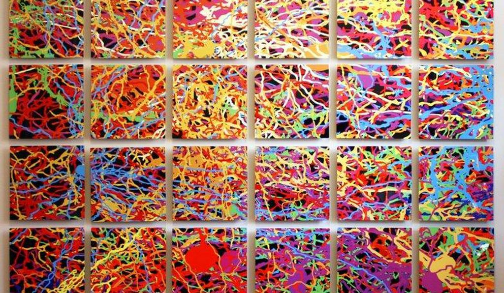 <i>For Pollock</i>, one of Hoel's recent works, bases its splatters of paint on overlaid images of neurons.