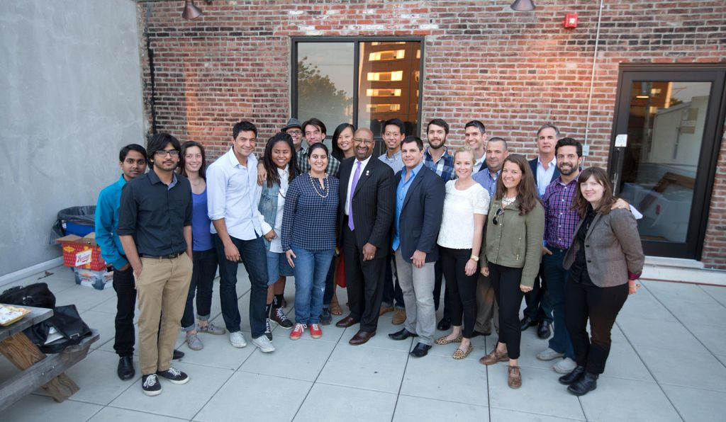 Philadelphia Mayor Nutter with the first class of startups in the city's FastFWD accelerator.