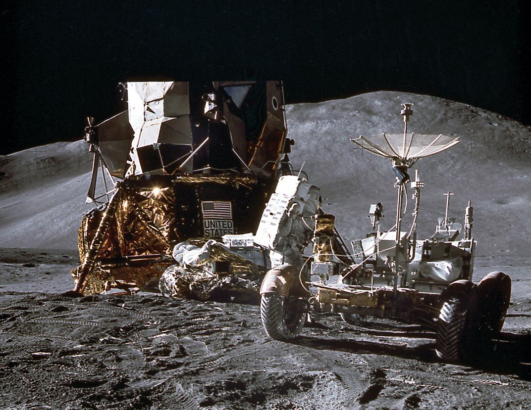 astronaut and equipment on moon