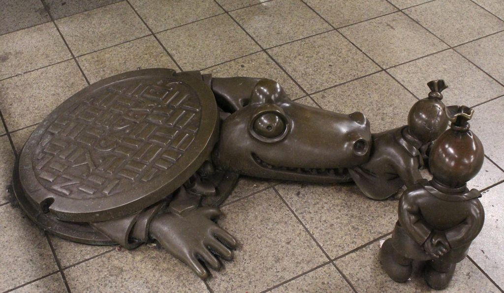 Artist Tom Otterness created more than 130 bronze sculptures for a single station.