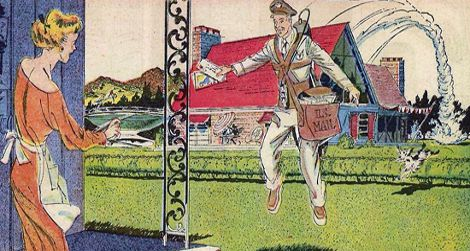 Arthur Radebaugh's jetpack mailman of the future