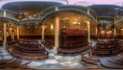 SOCIALMEDIA-Moshe Nahon Synagogue in Tangier, Morocco. This is a flattened view of a 360-degree photograph from Diarna's archives.