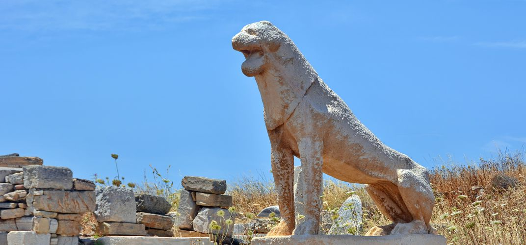 Ancient lion statue on Delos