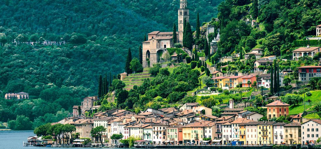 The village of Morcote on Lake Lugano