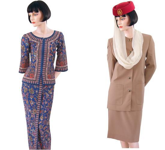 Uniforms for Singapore Airlines (current) and Emirates (1990s until 2009)