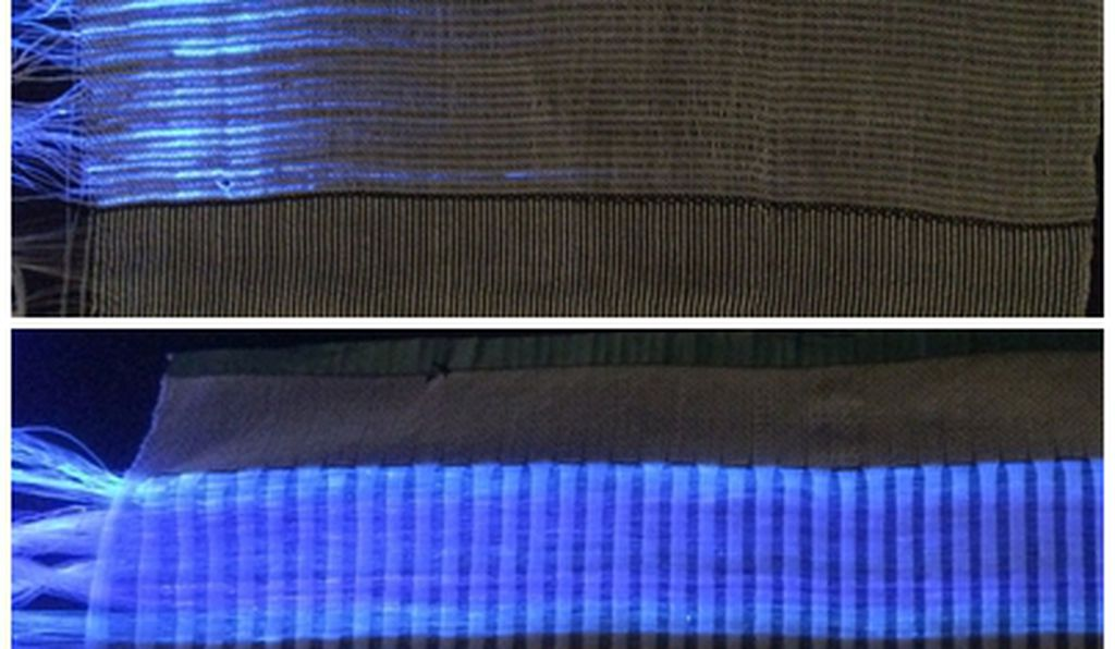 Different weaves showing how satin (bottom) outperforms linen (top) in terms of light penetration (EMPA)