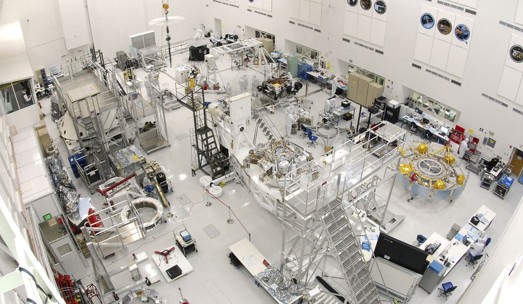 The cleanroom inside the Spacecraft Assembly Facility at NASA's Jet Propulsion Laboratory in Pasadena, California.