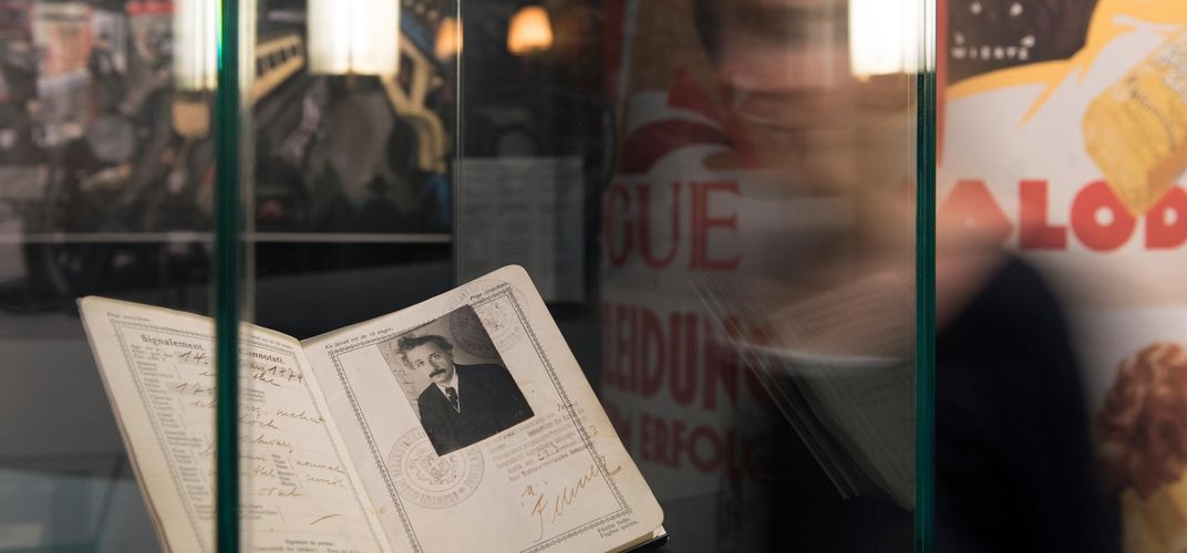 Einstein passport on display, Einstein Museum, Bern. Credit: Einstein Museum, Bernisches Historisches Museum