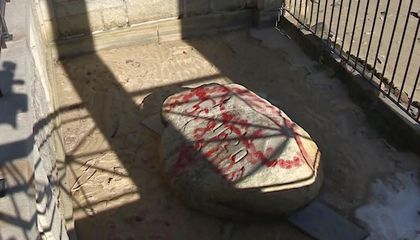 Plymouth Rock and Other Massachusetts Monuments Vandalized With Red Graffiti
